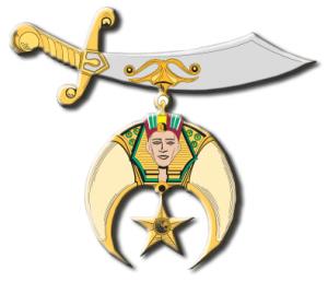 shriners, masonic logo, crescent, star, sword, fez
