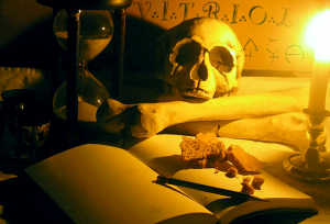 skull, hourglass, candle, VITRIOL, chamber, contemplation, masonic symbol