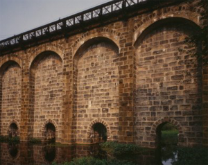 Neponset River flowing under the Canton Viaduct