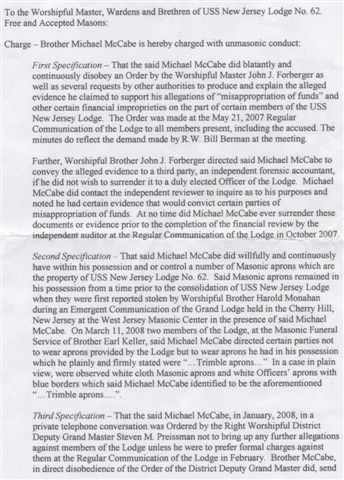 Masonic Charges - 1 of 2