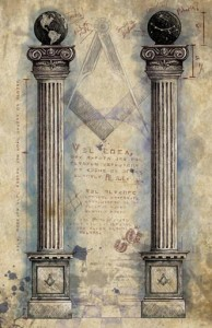 masonic art, pillars, original work