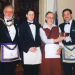 Presenting the Master of Simon W. Robinson Lodge the gift of a Paul Revere bowl.