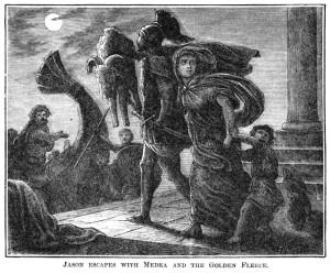 Jason escaping with the fleece