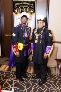 Sir Ronald D. Gerac, M.Ed. Right Eminent Grand Commander Lone Star Grand Commandery Order of the Knights Templar with Grand Master Wilbert M. Curtis