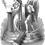 time, virgin, broken pillar, art, illustration
