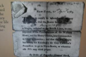 Certificate of Freedom signed by British Brigadier General Samuel Birch