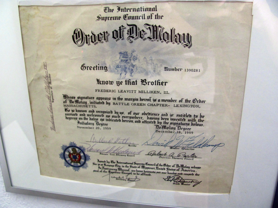 Frederic's DeMolay diploma 1959