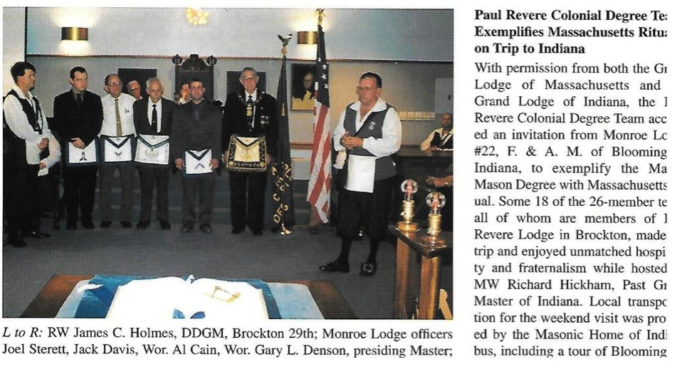 "From Grand Lodge of Massachusetts Magazine ""The Trowel"""