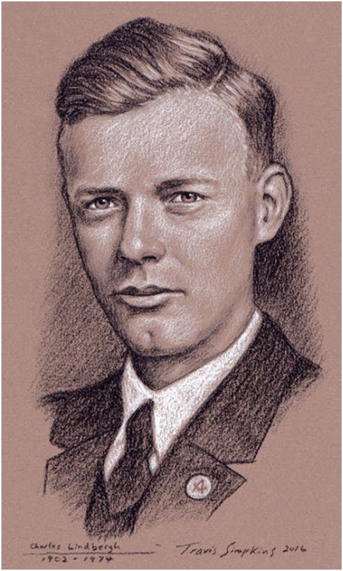 Charles Lindbergh. Aviator, Author and Explorer. 1st Solo Flight Across Atlantic, by Travis Simpkins