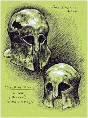 Worcester Art Museum: Ancient Greek Corinthian Helmets, 550-450 BC, by Travis Simpkins