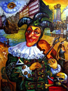 detail, jester, violin, all-seeing eye, violin, skull and bones