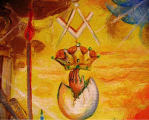 painting, crown, egg, square and compass