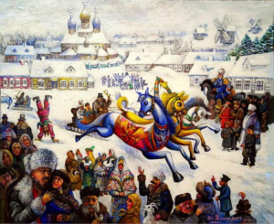 Ari Roussimoff, art, horses, crowd, russia, snowscape