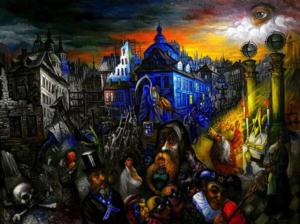 art, all-seeing eye, cityscape, outsider art