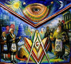Masonic, freemasonry, eye, square and compass, outsider art, Apron - Ari Roussimoff