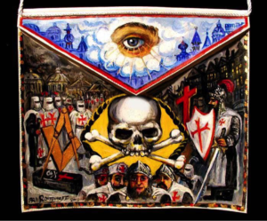 THE KNIGHTS TEMPLAR This rather Medieval themed Masonic painting dates from 2013. The symbolism encompasses lessons in regards to morality, spirituality, chivalry and the mortality of all humankind. Ari Roussimoff.