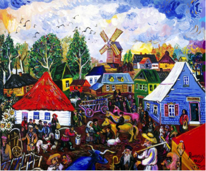 BUSY DAY AT THE MARKET PLACE This is where all the action is: the Marketplace. Painted in 1973 and I added some finishing touches to it in 2003. Ari Roussimoff.