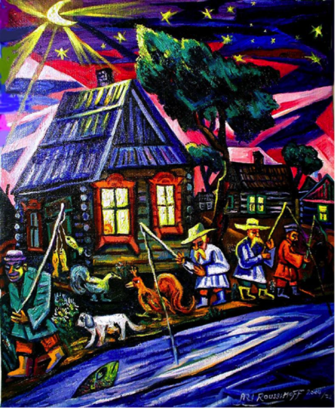 GOING FISHING IN THE OLD COUNTRY Here are fisherman doing what they love to do in an old Ukrainian or Russian village. One of my fun Cubist style paintings from 2004. I have always enjoyed watching fisherman at work, even though I do not eat sea food. Ari Roussimoff
