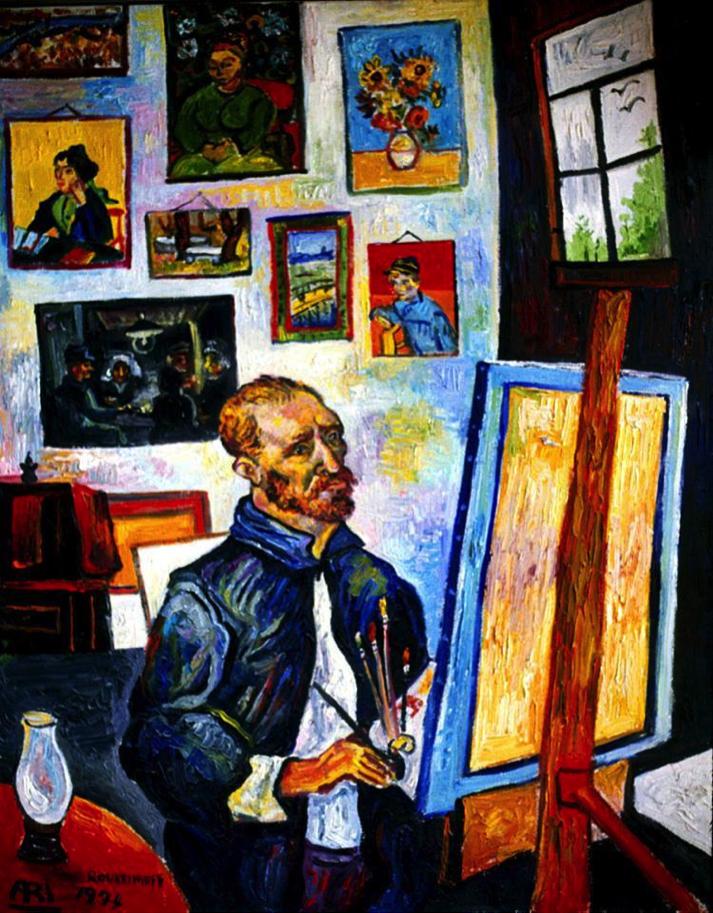 HOMAGE TO VAN GOGH Van Gogh in his studio with Van Gogh's paintings on the wall.
