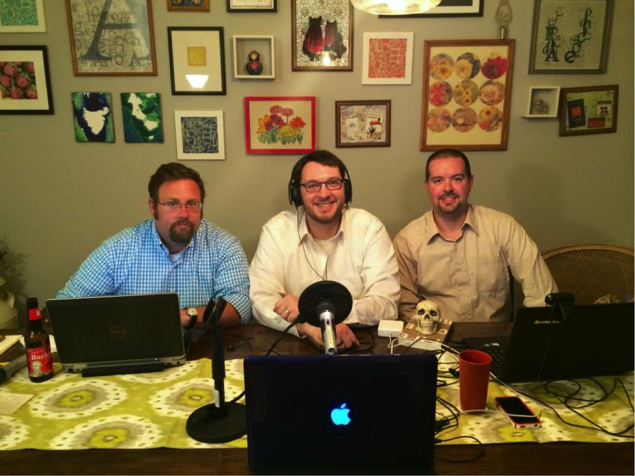 Robert, Jason and Jon recording an episode from Jason's dining room. Robert was out of town for work, but oddly enough, in their town.